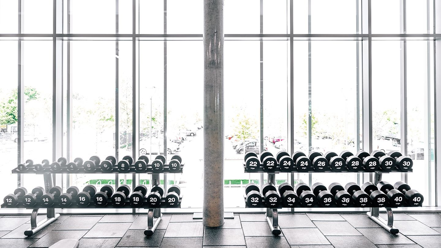 Origin UD2 Urethane Dumbbells with Racks for Nuffield Health