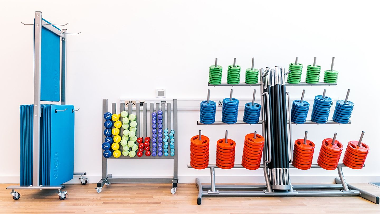 Origin Rubber Studio Barbell plates and bars, studio vinyl covered dumbbells and exercise mats
